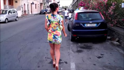 Italian goddess in sexy dress Natalia walking in shoes with high heel platform