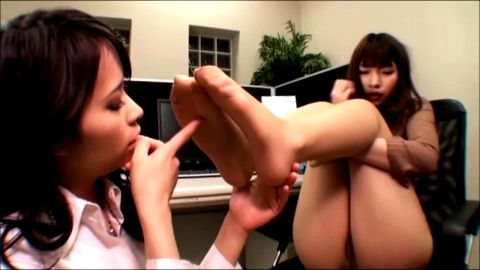 Two smoking hot Asian girls in sexy uniforms get all wet and horny in superb foot fetish scene