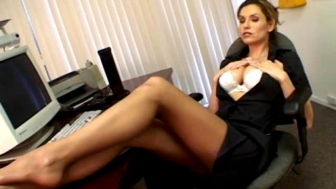 Stunning big tit secretary in nylon stockings stripping her sexy uniform off at the office