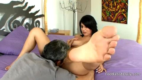 Phenomenal babe Christina Moure gives a nice footjob before getting her bald cunt fucked