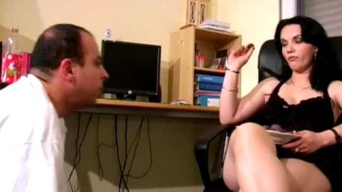 Attractive French mistress gets her stiletto heels licked out while she is eating fruits