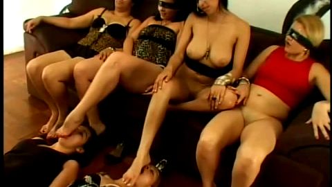 Curvy Brazilian mistresses getting their feet worshipped and licked out by female foot slaves