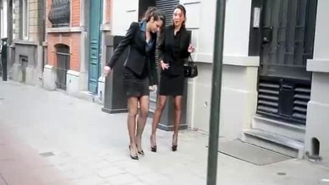 Hot sophisticated ladies in pantyhose and sexy Louboutin shoes Julie & Sky High going for a walk