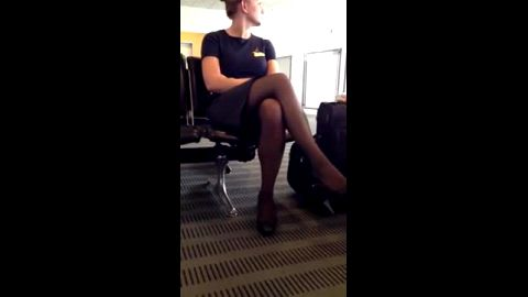 Sexy stewardess in uniform makes me dream about her hot body and candid feet