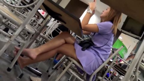 Wonderful amateur girl in hot purple dress resting her Asian candid feet