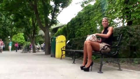 Spectacular MILF in sexy short skirt and high heels Tamia visiting the Zoo