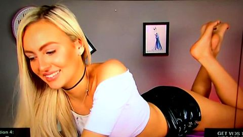 Blonde bombshell Tiffany Rose revealing her amazing feet live on her cam