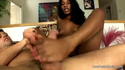 Black hottie in bikini Rane Revere gets her creamy toes and ass licked out in hardcore sex action