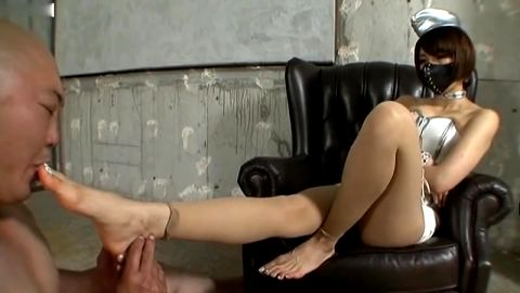 Kinky Asian mistress tortures her mature slave with her magical feet