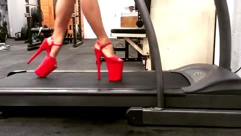 Phenomenal stripper working out in her sexy high heel shoes with platform