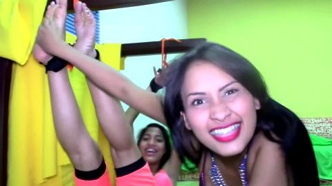 Sexy Latina tickling her sexy tied up girlfriend's delicious feet and armpits