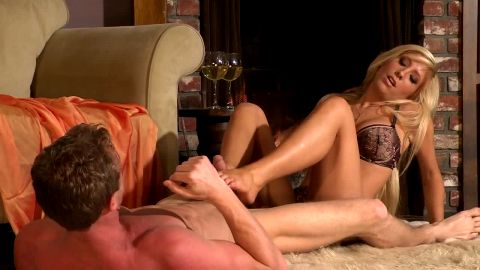 Attractive blonde Tasha Reign massages her man with her sexy feet and gets fucked