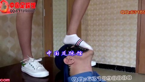 Sweet Asian teenage girl trampling her older male slave