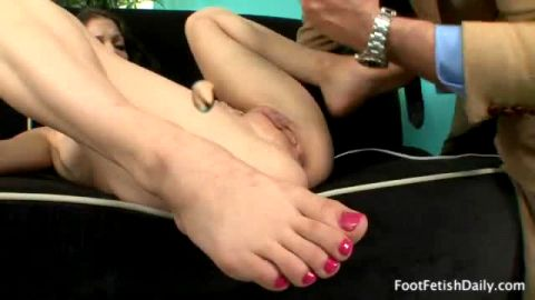 Dark haired beauty with beautiful feet Alexis Venton masturbates before banging an older fella