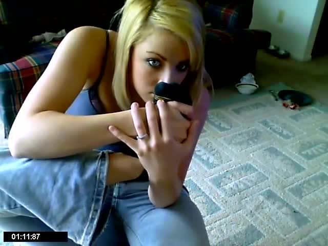 Cute Blonde Sniffing Her Feet In Black Dirty Socks On The -4601