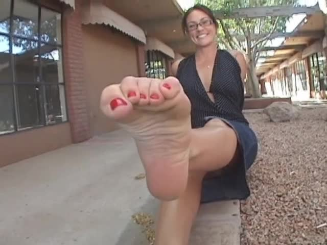 Naughty Milf With Sexy Glasses Showing Off Her Mature Feet -6540
