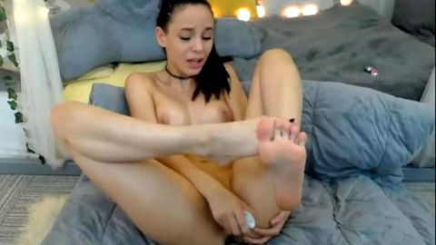 Phenomenal butt naked babe with fantastic feet passionately dildoing her shaved cunt
