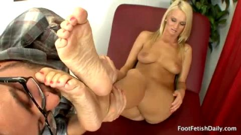 Sexy blonde with perfect tits Emily Austin gets ready for some hot foot fetish treatment