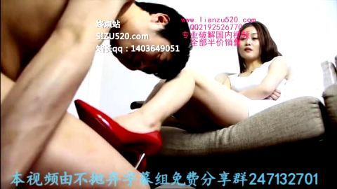Lovely Asian mistress tortures her slave after trying out her brand new red shoes