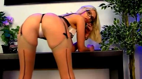 Perfect blonde with glasses loves wearing provocative lingerie during phone sex show