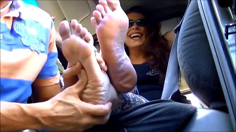 Thick amateur redhead humiliating her bald slave with her sensitive tattooed feet