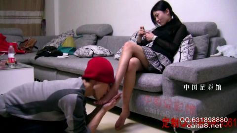 Attractive mistress and her submissive male slave in perfect Chinese foot licking scene