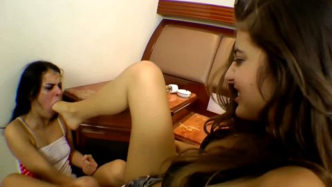 Sex bomb with hot feet invites her slutty girlfriend for some foot gagging
