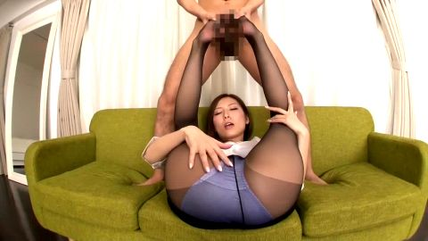 Kinky Asian mistress in nylon stockings uses her hot feet on her male slave's cock