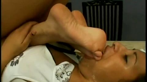 Two naughty Brazilian girls in wild foot gagging lesbian hardcore action