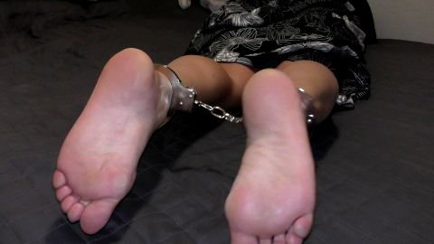 Submissive girl looking so damn good with handcuffs on her sexy tattooed ankles and feet