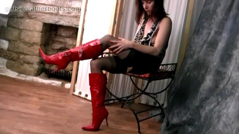 Kinky brunette Milf teases her tits nylon legs panties and sexy red high heel leather boots
