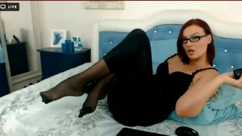 leather pen, nylon and heels on webcam