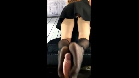 Amateur hottie in short skirt giving me an incredible reverse footjob