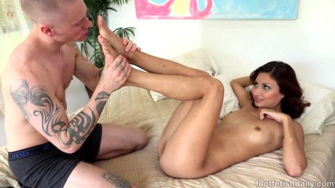 Superb babe Jade Jantzen loves playing kinky foot games with her man before having sex