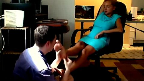 Cute boyfriend massaging and worshipping his hot girlfriend's delicious feet