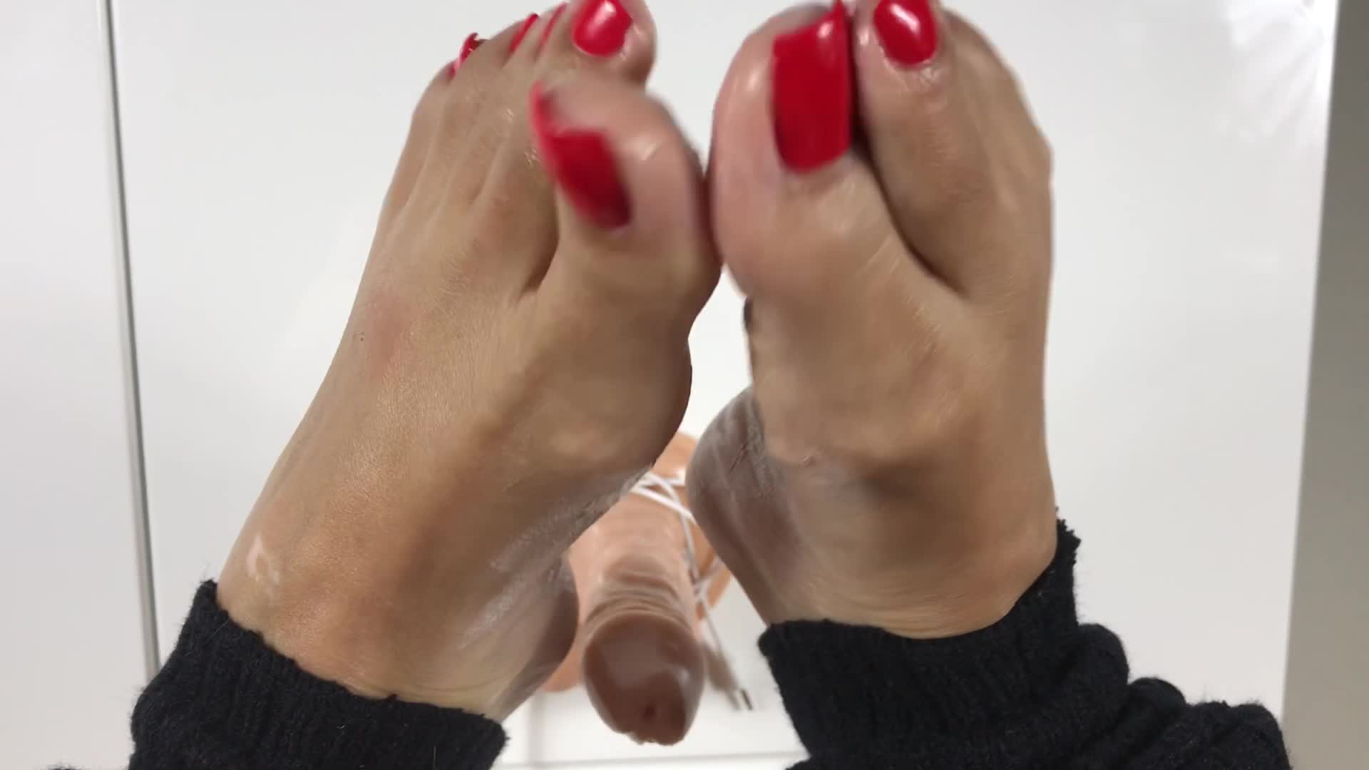 Shoejob and cum on her stockings and black patent high heels - 2 part 7