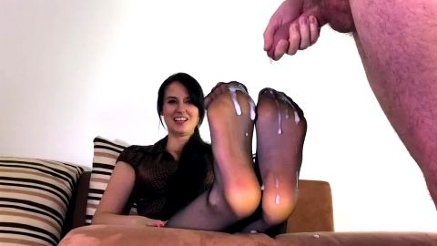 cum on nylon feet joi
