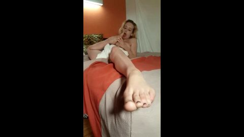Naughty amateur blonde wife worships her sexy feet in front of her hubby