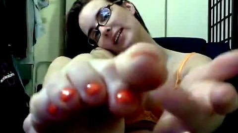 Exotic orange nail polish on my tasty toes and feet yes or no