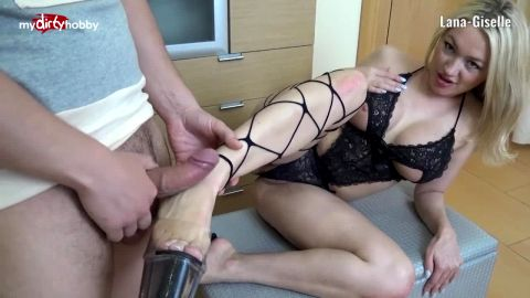 Big tit German bombshell Lana Giselle fucks like a whore after delivering a great footjob