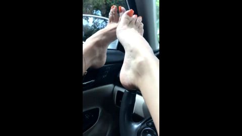 Orange toe nails go perfect with my hot amateur feet and arches