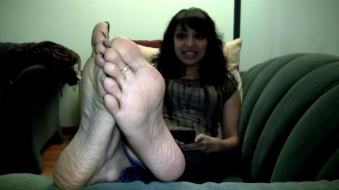 Enjoy playing with my sensitive feet on the sofa while texting my girlfriends