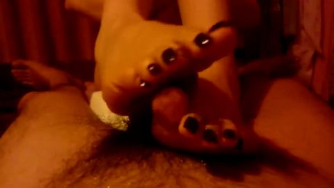Watching wifey giving me a sensual footjob turns me on so badly