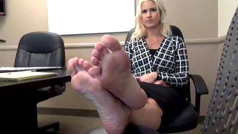 Beautiful blonde secretary got blackmailed to show her sexy feet at the office