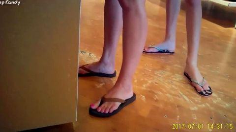 Caught long legged amateur girls with phenomenal feet on my hidden public camera