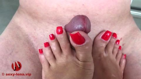 Cum on Sexy-Lena's Feet