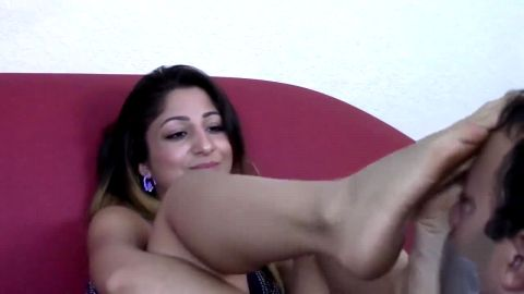 Amateur mistress rubbing her hot dirty feet on her slave's face