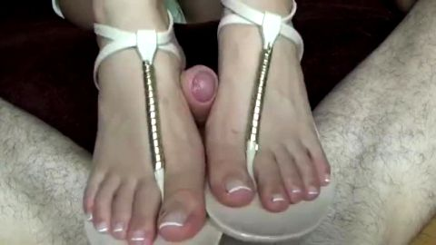 Got an incredible shoejob from my naughty girlfriend in white sandals
