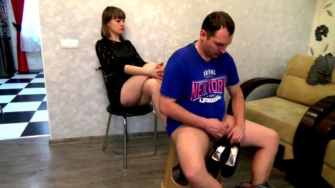 Submissive slave cumming in his sexy dark haired mistress's black shoes