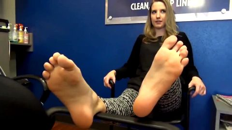 Sexy blonde office girl lets me tickle her sexy long feet at work